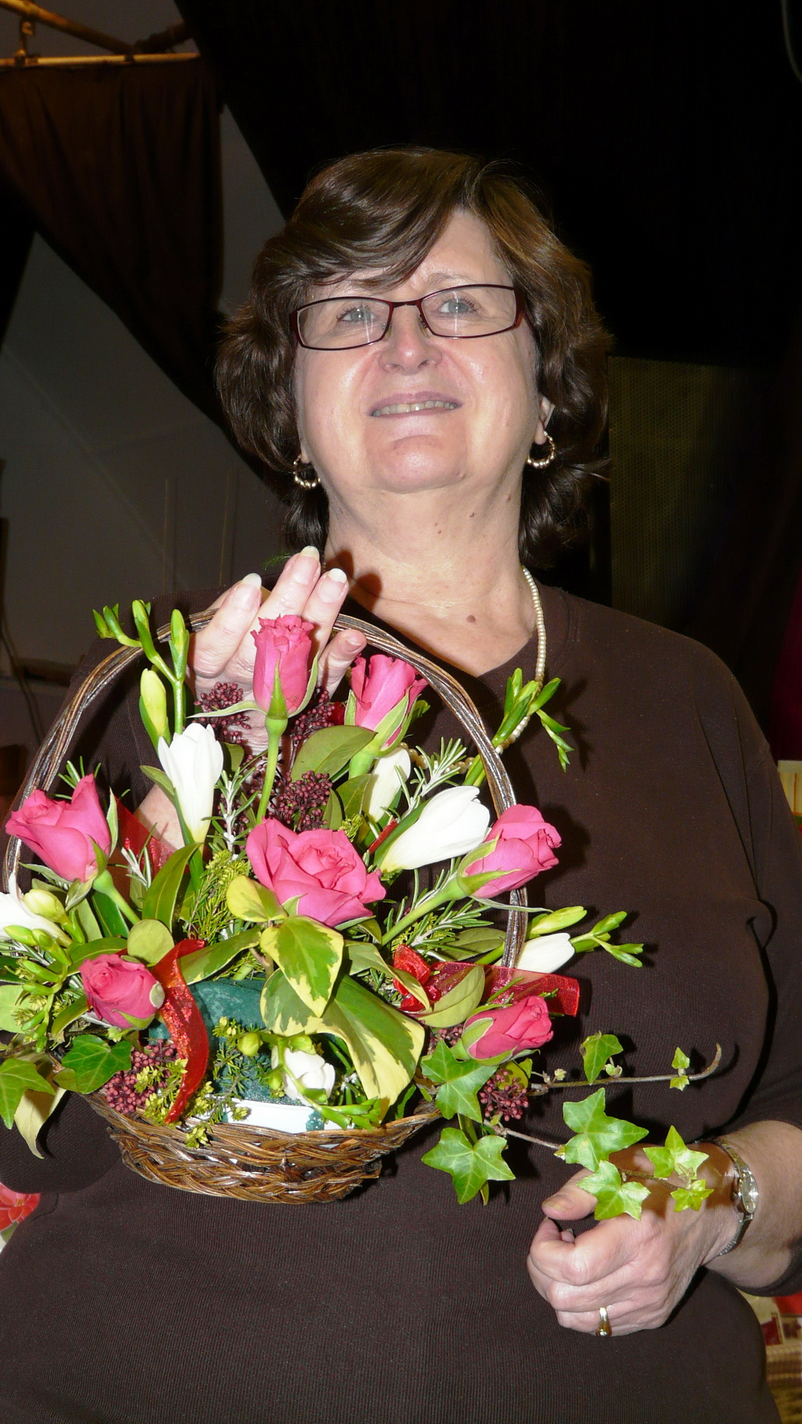 Trowell Parish Council Chair Julie Bryant receiving a bouquet